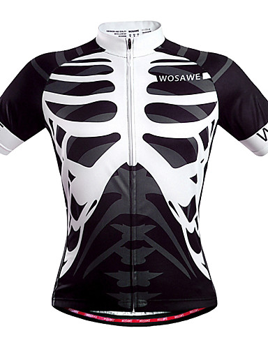 cheap Cycling Clothing-WOSAWE Men's Unisex Short Sleeve Cycling Jersey - Black / White Skeleton Bike Jersey Top Breathable Quick Dry Back Pocket Sports Polyester Mountain Bike MTB Road Bike Cycling Clothing Apparel