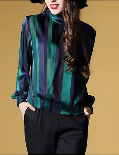 povoljno Ženske majice-Bluza Žene Rad Jednobojni Uski okrugli izrez Slim Djetelina