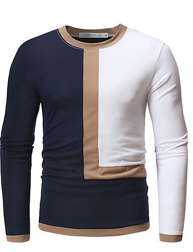 Heren Standaard T-shirt Katoen Kleurenblok Ronde hals Wit XL / Lange mouw