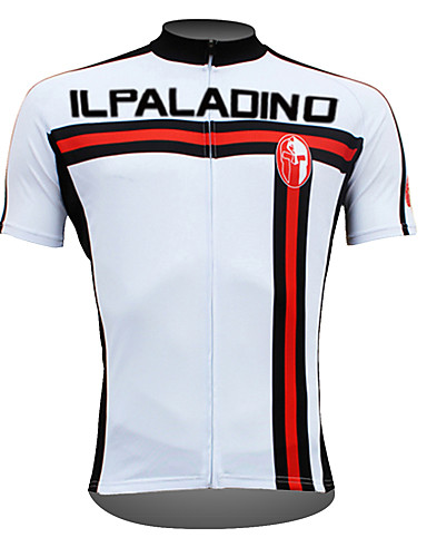 cheap Cycling Clothing-ILPALADINO Men's Short Sleeve Cycling Jersey - White Bike Jersey Top Breathable Quick Dry Ultraviolet Resistant Sports 100% Polyester Mountain Bike MTB Road Bike Cycling Clothing Apparel