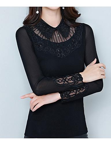 8dc1fec0e6ff Γυναικεία Μεγάλα Μεγέθη T-shirt Βασικό Μονόχρωμο Κολάρο Πουκαμίσου Λεπτό  Patchwork Μαύρο XL