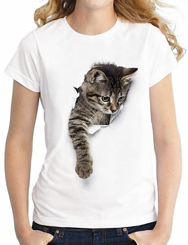 billige Topper til damer-Bomull Store størrelser T-skjorte Dame - Dyr Grunnleggende / Gatemote Katt Hvit XXXXL / Sommer