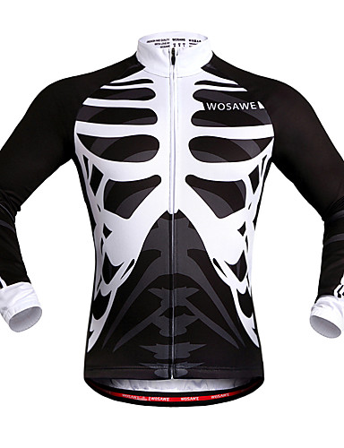 cheap Cycling Clothing-WOSAWE Unisex Cycling Jersey Bike Jersey Top Windproof Reflective Strips Back Pocket Sports Skeleton White / Black Mountain Bike MTB Road Bike Cycling Clothing Apparel Advanced Relaxed Fit Bike Wear