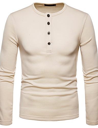 fb9c8390fe10 Ανδρικά T-shirt Βασικό - Βαμβάκι Μονόχρωμο Στρογγυλή Λαιμόκοψη   Μακρυμάνικο