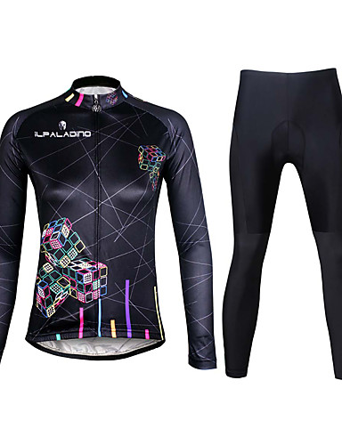 cheap Cycling Clothing-ILPALADINO Women's Long Sleeve Cycling Jersey with Tights - Black Plus Size Bike Clothing Suit Breathable 3D Pad Quick Dry Ultraviolet Resistant Reflective Strips Sports Lycra Lines / Waves Mountain