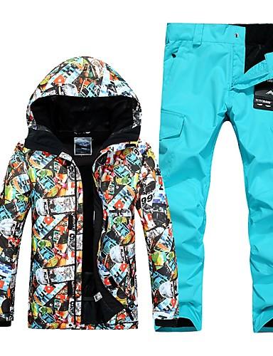 abordables Esquí y Snowboard-GSOU SNOW Hombre Chaqueta y pantalones de Esquí Impermeable Resistente al Viento Templado Esquí Deportes de Invierno POLY Sets de Prendas Ropa de Esquí