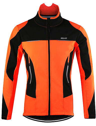cheap Cycling Clothing-Arsuxeo Men's Cycling Jacket Bike Jacket Top Thermal / Warm Windproof Breathable Sports Polyester Spandex Fleece Winter Orange / Red / Blue Mountain Bike MTB Road Bike Cycling Clothing Apparel