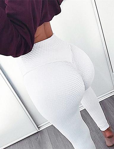 8c5a81a7f2 Mujer Jacquard Pantalones de yoga Blanco Negro Deportes Color sólido Licra  Medias   Mallas Largas Leggings Zumba Danza Running Ropa de Deporte  Transpirable ...