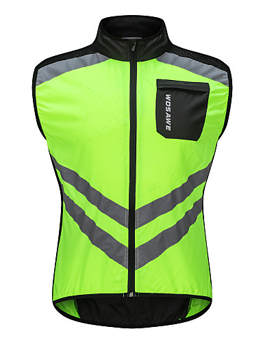 cheap Cycling Clothing-WOSAWE Men's Sleeveless Cycling Vest - Green Solid Color Bike Vest / Gilet Windbreaker Jersey Windproof Reflective Strips Back Pocket Sports Polyster Mountain Bike MTB Road Bike Cycling Clothing