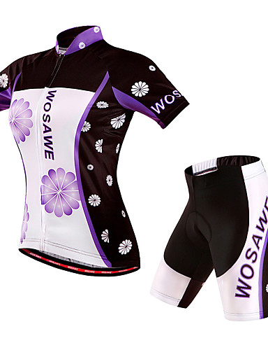 cheap Cycling Jersey & Shorts / Pants Sets-WOSAWE Women's Short Sleeve Cycling Jersey with Shorts Purple Floral Botanical Bike Shorts Jersey Padded Shorts / Chamois Windproof Breathable 3D Pad Quick Dry Sports Polyester Spandex Floral