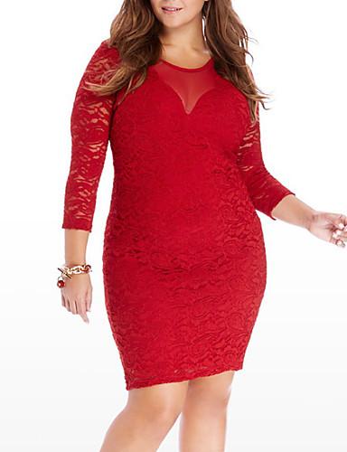 hesapli Büyük Beden Elbiseleri-Kadın's Büyük Bedenler Temel Pamuklu İnce Bandaj Elbise - Solid, Dantel Kırk Yama Diz üstü Yüksek Bel