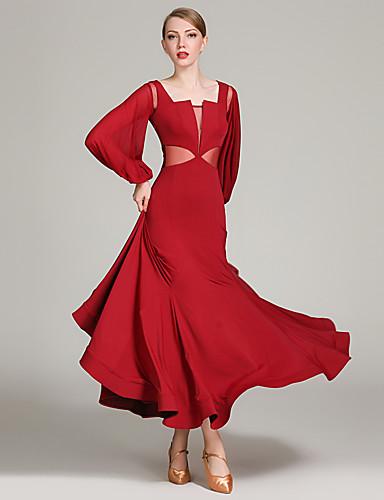 6c3b88d4d241 Ballroom Dance Dresses Women's Training / Performance Tulle / Ice Silk  Ruching / Split Joint Long Sleeve High Dress