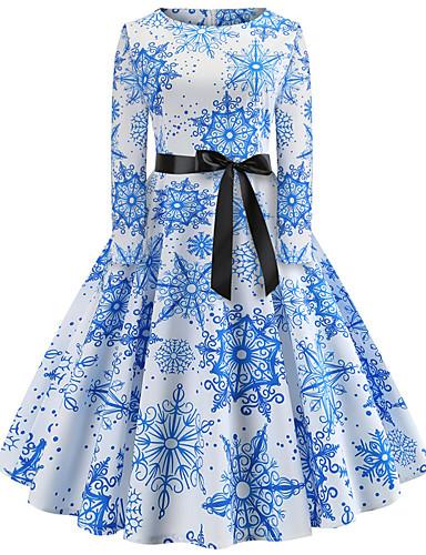 tanie W stylu vintage-Damskie Wyjściowe Vintage Elegancja Bawełna Szczupła Swing Sukienka - Płatek śniegu, Nadruk Do kolan