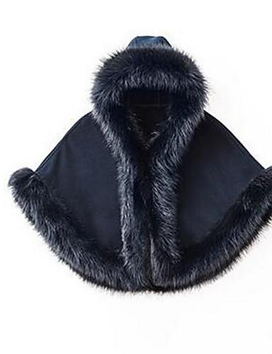 billige Ytterklær til damer-Dame Daglig Grunnleggende Høst vinter Normal Cloak / Capes, Ensfarget Med hette Langermet Polyester Svart