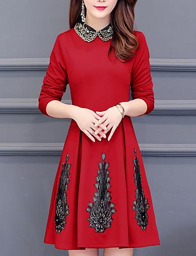 45379936b6e5 Γυναικεία Μεγάλα Μεγέθη Θήκη Φόρεμα Πάνω από το Γόνατο Κολάρο Πουκαμίσου