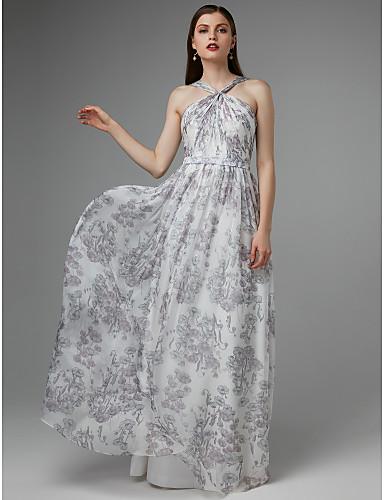 billige Maxikjoler-A-linje Grime Gulvlang Chiffon Formell kveld Kjole med Belte / bånd / Blomstertrykk av TS Couture®