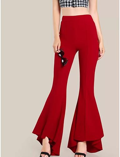ราคาถูก กางเกงผู้หญิง-สำหรับผู้หญิง Street Chic Flare กางเกง - สีพื้น เอวสูง ฝ้าย สีดำ ทับทิม อาร์มี่ กรีน XL XXL XXXL