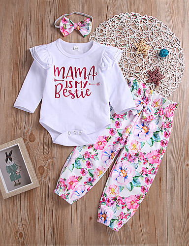 cheap 6/18-Baby Girls' Active / Punk & Gothic Daily / Holiday Floral / Print Print Long Sleeve Regular Regular Cotton Clothing Set White / Toddler