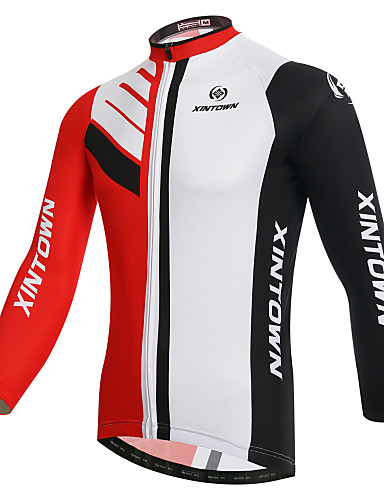4247ce596 XINTOWN Men s Long Sleeve Cycling Jersey - White Bike Jersey Breathable  Quick Dry Ultraviolet Resistant Winter Sports Elastane Fashion Mountain  Bike MTB ...
