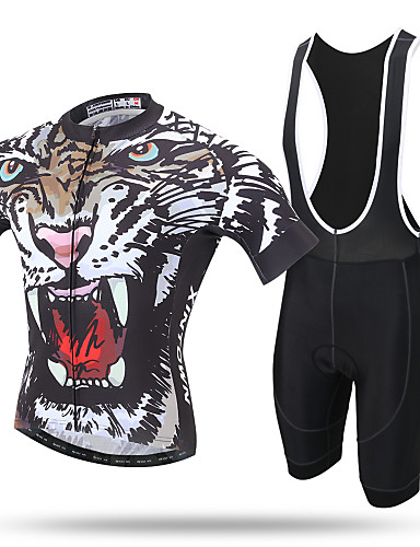 cheap Cycling Clothing-XINTOWN Men's Short Sleeve Cycling Jersey with Bib Shorts - Yellow Leopard Bike Jersey Bib Tights Clothing Suit Breathable 3D Pad Quick Dry Reflective Strips Sweat-wicking Sports Elastane Leopard