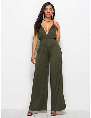 68ad758a7d93 Women s Plus Size Party   Daily Street chic Deep V Wine Army Green Royal  Blue Wide Leg Jumpsuit