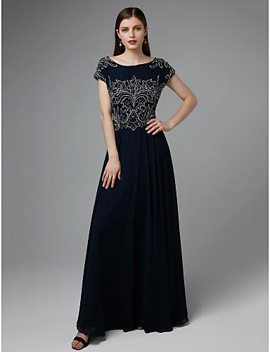 A-Şekilli Taşlı Yaka Yere Kadar Şifon / Tül Boncuklama / Pileler ile Resmi Akşam / Zerafet Galası Elbise tarafından TS Couture®