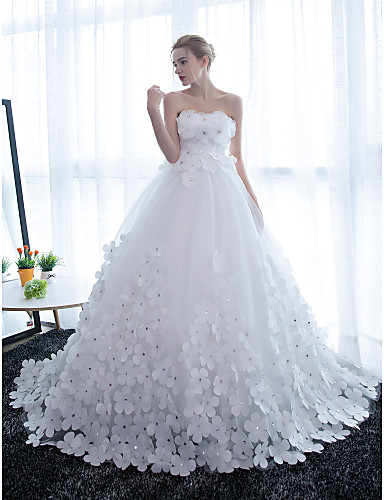 fb045d40d89 Ball Gown Strapless Chapel Train Satin   Tulle Made-To-Measure Wedding  Dresses with Crystals   Flower by LAN TING BRIDE®   Sparkle   Shine