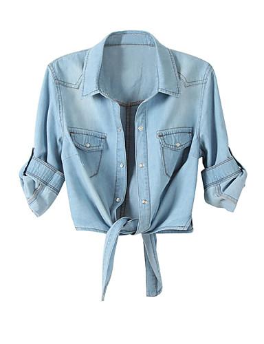 billige Dametopper-Bomull Skjortekrage Skjorte Dame - Ensfarget Blå