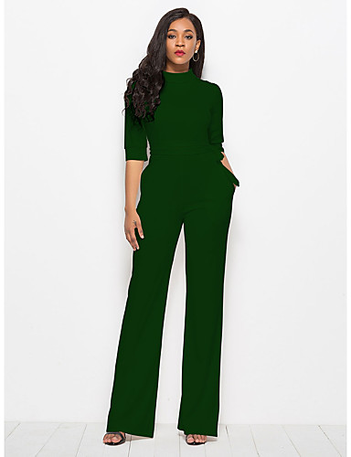 808316c5b1b6 Women s Plus Size Daily Street chic Wine Army Green Royal Blue Wide Leg  Jumpsuit