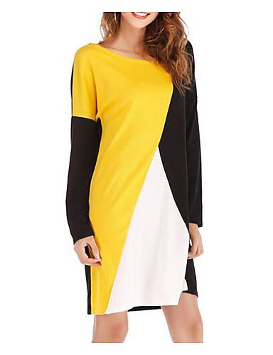 abordables Robes Femme-Femme Rétro Vintage Manche Gigot Midi Trapèze Robe Bloc de Couleur Noir & Blanc Jaune M L XL Manches Longues