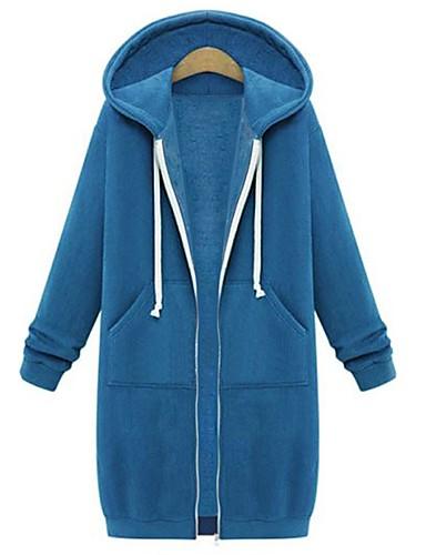 זול טרנינגים וקפוצ'ונים לנשים-בגדי ריקוד נשים בסיסי / סגנון רחוב מידות גדולות כותנה רזה מכנסיים - אחיד כחול נייבי / סתיו / חורף
