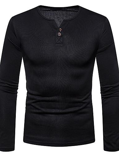 Rund hals Herre - Ensfarvet Bomuld Basale T-shirt Mørkegrå L / Langærmet