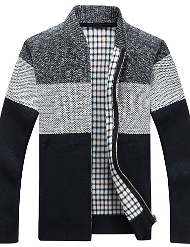 Costruttivo Per Uomo Quotidiano Monocolore Manica Lunga Standard Cardigan Blu - Grigio Scuro - Grigio Chiaro Xl - Xxl - Xxxl #07022004 Distintivo Per Le Sue Proprietà Tradizionali