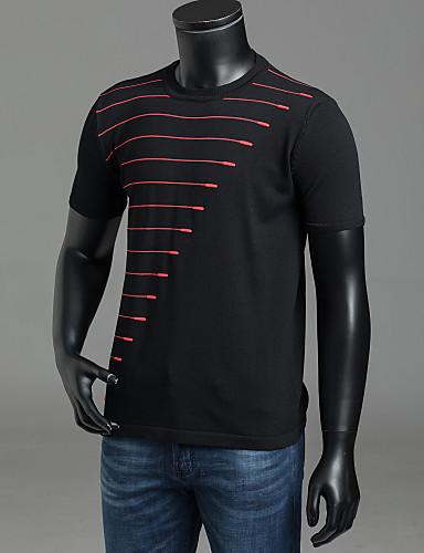 billige T-shirts og undertrøjer til herrer-Rund hals Herre - Stribet Trykt mønster Basale T-shirt Hvid L / Kortærmet / Sommer