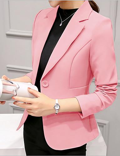 billige Ytterklær til damer-Dame Arbeid Kort Blazer, Ensfarget Hakkjakkeslag Langermet Polyester Vin / Lyseblå / Marineblå L / XL / XXL