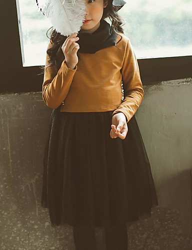 Dijete Djevojčice Osnovni Color block Dugih rukava Normalne dužine Haljina Braon / Dijete koje je tek prohodalo