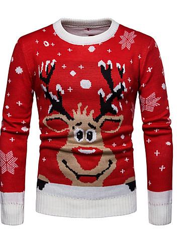 voordelige Uitverkoop-Heren Kerstmis / Dagelijks Standaard Geometrisch / dier Lange mouw Normaal Pullover Rood L / XL / XXL