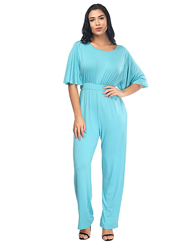Womens Daily Street Chic U Neck Wine Light Blue Royal Blue Jumpsuit