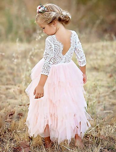 povoljno Odjeća za djevojčice-Djeca Djevojčice Osnovni Dnevno Jednobojni Čipka Više slojeva Dugih rukava Haljina Red / Pamuk