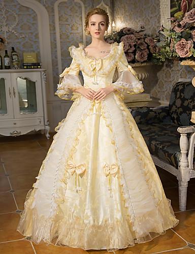 ราคาถูก Toys & Hobbies-เจ้าหญิง ราชินีอลิซาเบ ธ Victorian Rococo Barroco ศตวรรษที่ 18 คอสี่เหลี่ยม หนึ่งชิ้น ชุดเดรส Outfits Party Costume Masquerade สำหรับผู้หญิง ลูกไม้ เครื่องแต่งกาย ทอง Vintage คอสเพลย์ ปาร์ตี้ Prom
