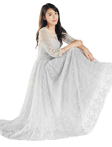 billige Cosplay og kostumer-Prinsesse Casual Lolita Dress Blonde Dame Pige Kjoler Cosplay Hvid Ankellængde Kostumer