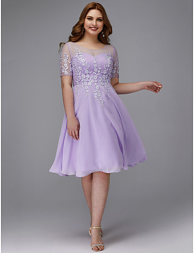896ef0a4ca7 Plus Size A-Line Jewel Neck Knee Length Chiffon   Lace Cocktail Party Dress  with Appliques by TS Couture®