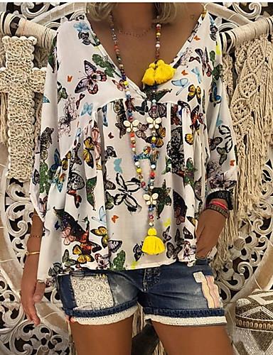 abordables Hauts pour Femmes-Tee-shirt Grandes Tailles Femme, Fleur - Coton énorme Basique Col en V Ample Noir