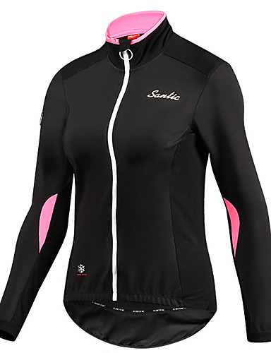 41cdd234a82 SANTIC Women s Cycling Jacket Bike Top Thermal   Warm Windproof Breathable  Sports Solid Color Elastane Pink Mountain Bike MTB Road Bike Cycling  Clothing ...