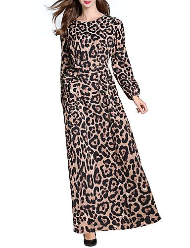 Γυναικεία Εξόδου Κομψό στυλ street Κομψό Θήκη Καφτάνι Φόρεμα - Λεοπάρ fec4ad55730