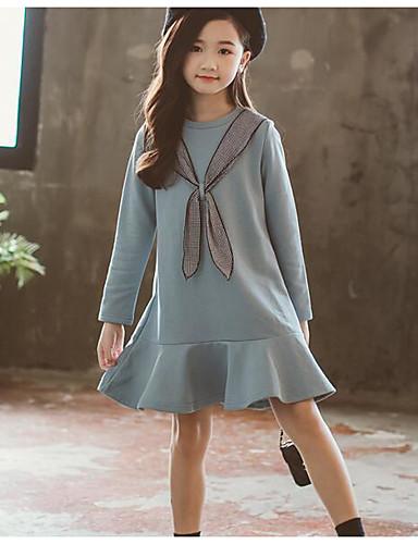 Dijete Djevojčice Osnovni Jednobojni Dugih rukava Dug Haljina Plava / Dijete koje je tek prohodalo