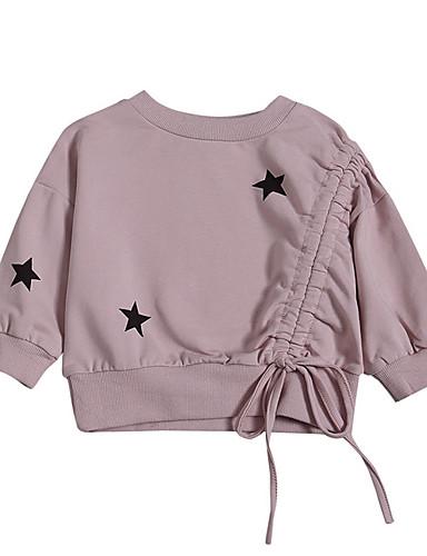 子供 女の子 活発的 プリント 長袖 ポリエステル フーディーズ&スウェットシャツ ピンク