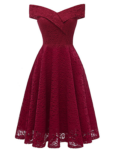 Women s Party Going out Vintage Slim Sheath Dress - Solid Colored Lace Boat  Neck Summer Purple Wine Light Purple XL XXL XXXL   Sexy ba8aa9b36