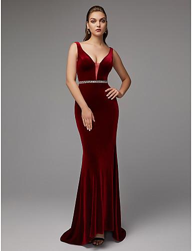 207ca9016108 Χαμηλού Κόστους Κόκκινα φορέματα χορού αποφοίτησης-Τρομπέτα   Γοργόνα  Βυθίζοντας το λαιμό Ουρά Βελούδο Επίσημο · Τρομπέτα   Γοργόνα Βυθίζοντας το  λαιμό Ουρά ...