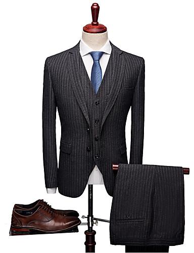 Jednobojni Kroj po mjeri / Standardni kroj Vuna mješavine / polyster Odijelo - Stepenasti Droit 1 bouton / odijela
